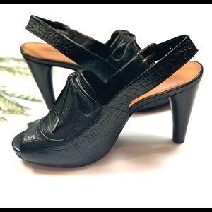 Antonio Melani Black Leather Peep Toe Heels